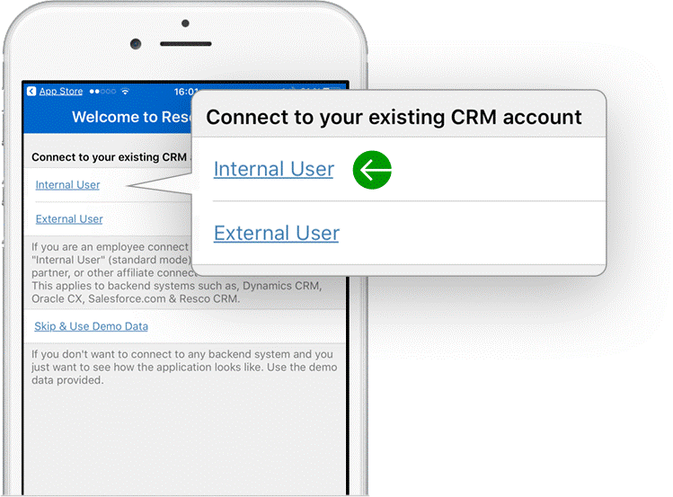 How to connect Resco Mobile CRM to back-end