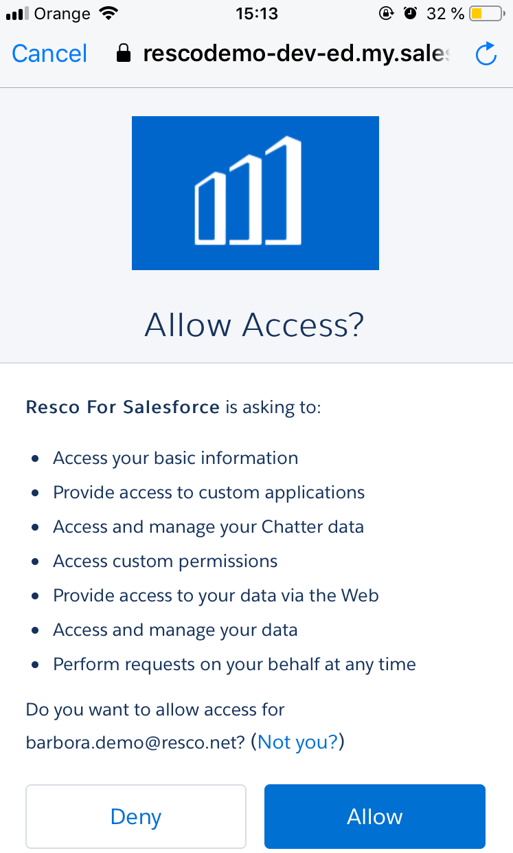 How to connect Resco Mobile Solution to Salesforce 004