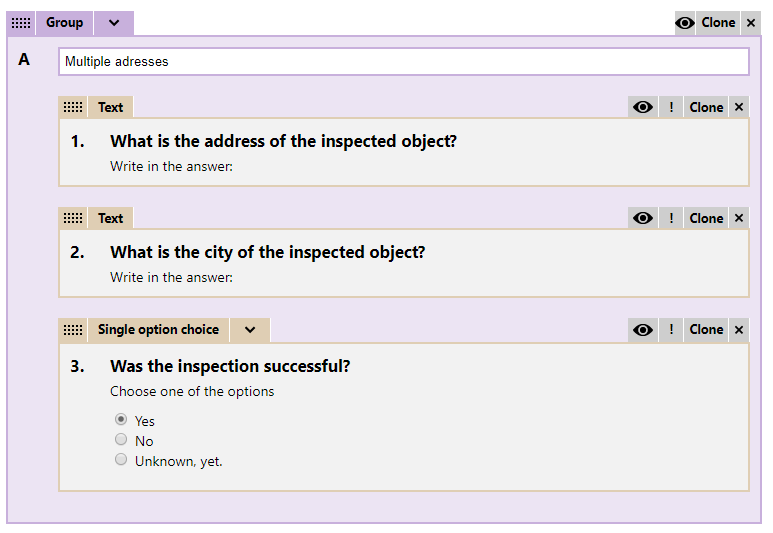 Inspections question group