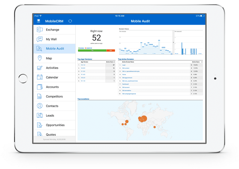 mobile audit and analytics resco cloud resco mobile crm