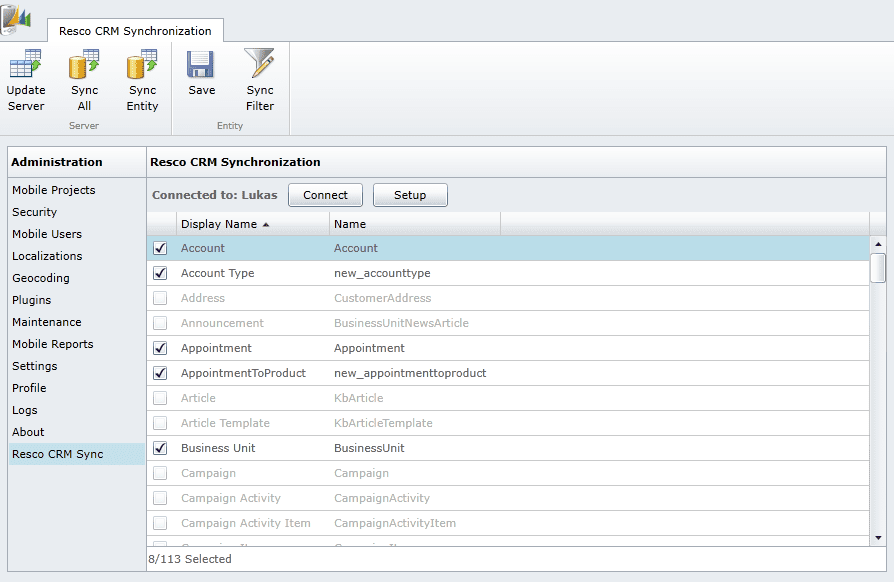 resco crm sync guide - screen 3