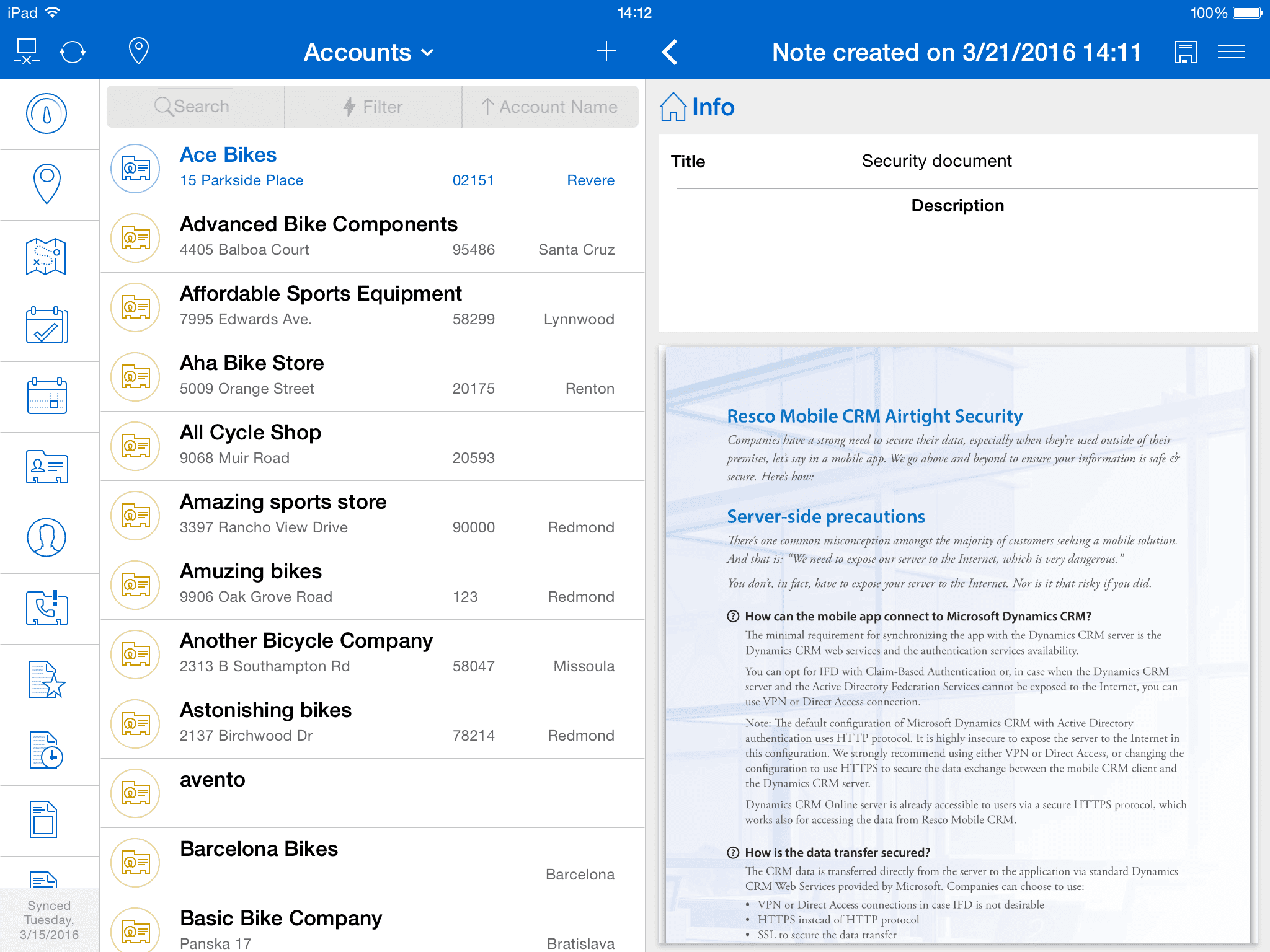 Document copied into Resco Mobile CRM from an email