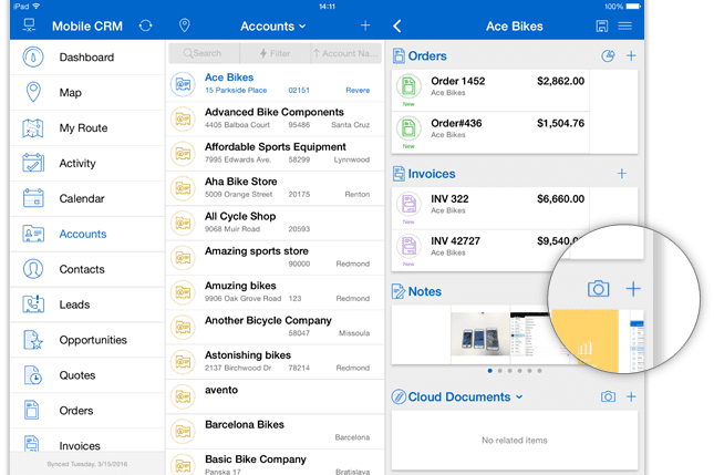 Create a new note to add document to a CRM record in Resco Mobile CRM