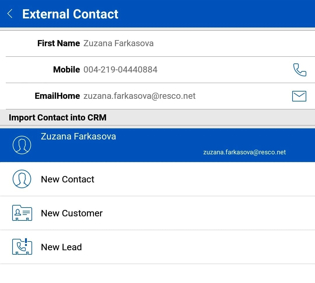 Create account, contact or lead form a phone address book contact