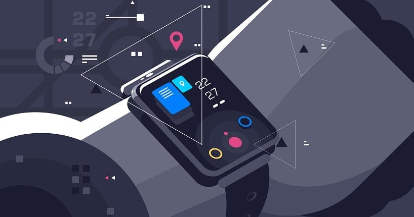 Modern smart watch on male hand. Device display with different functions and apps icons flat style concept vector illustration. Electronic intelligence wristwatch. Enterprise smartwatches