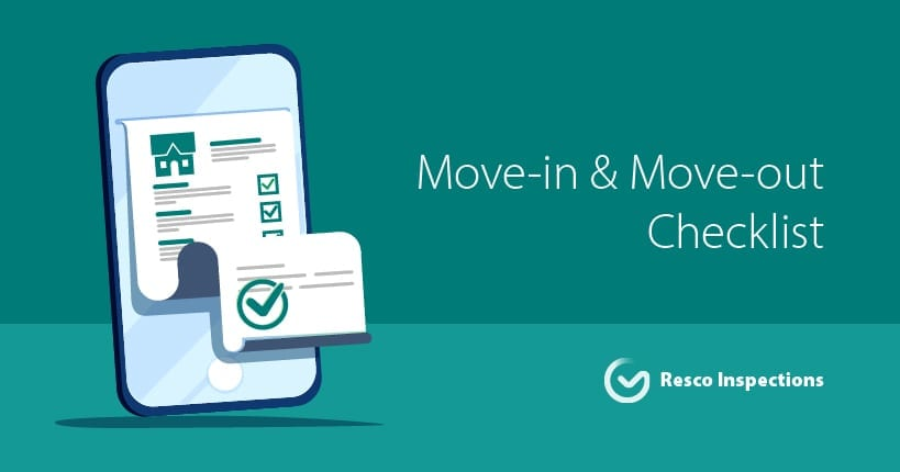 resco inspection with move in move out checklist screen on