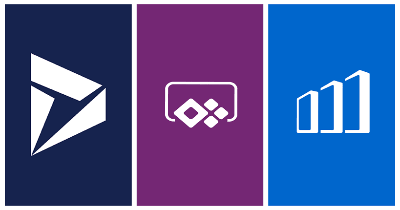 logo og Resco. PowerApps, and Dynamics 365 for phones and tablets app besides each other