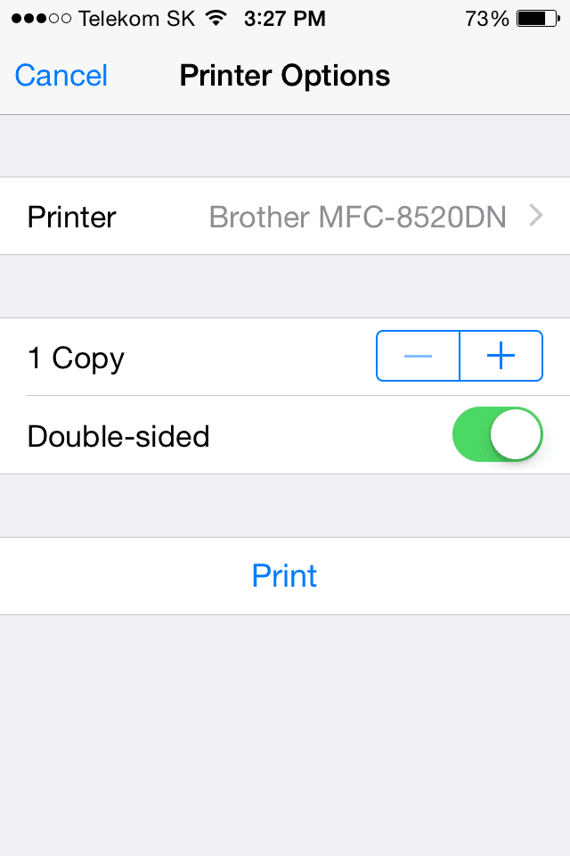 Printing a document from iPhone - step 2