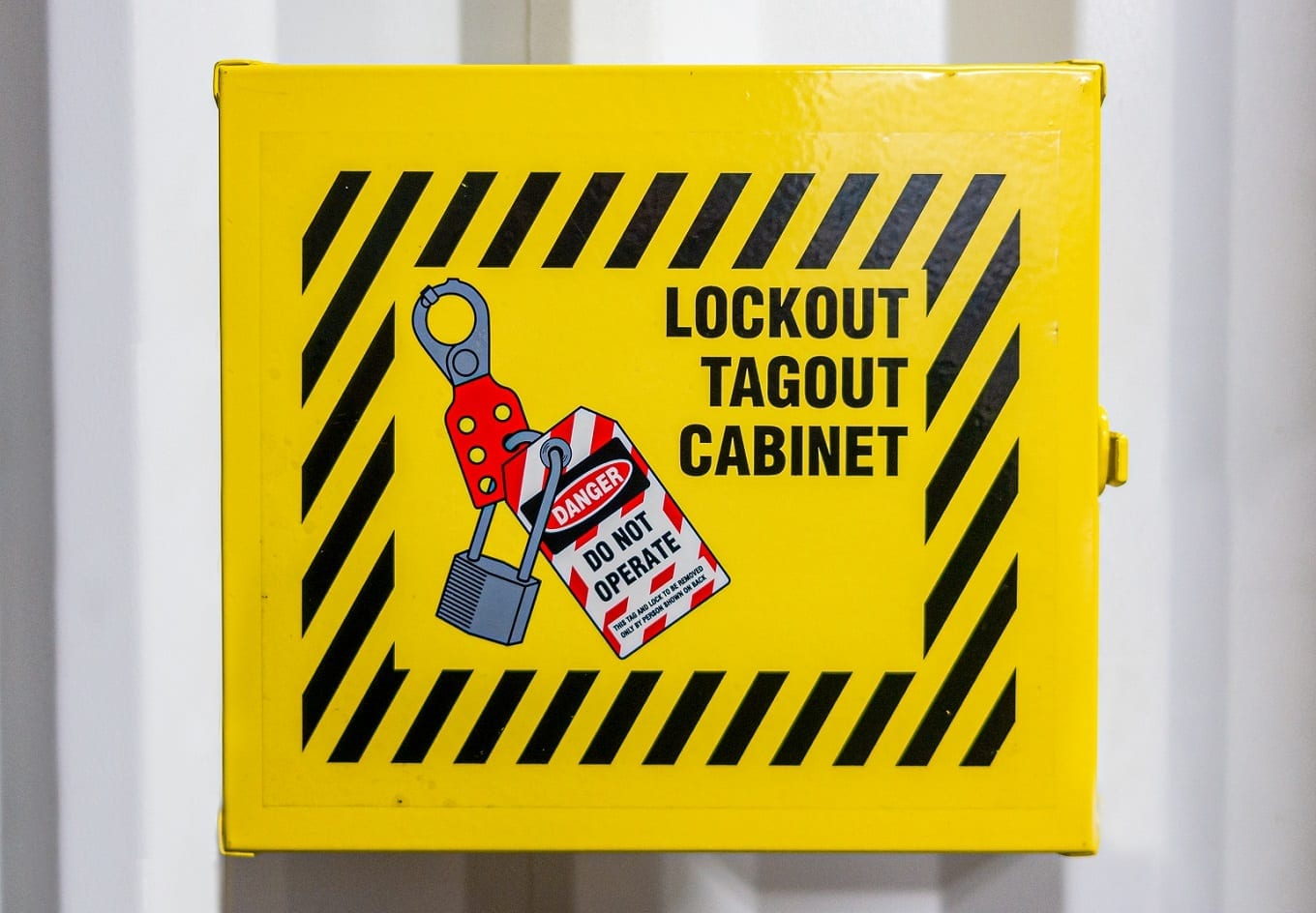 Yellow lockout tagout cabinet in an electrical substation