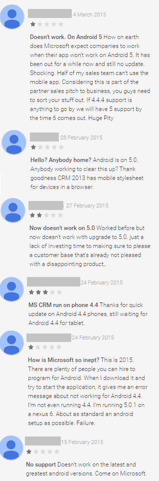 Google Play reviews on Microsoft's Dynamics CRM for phones