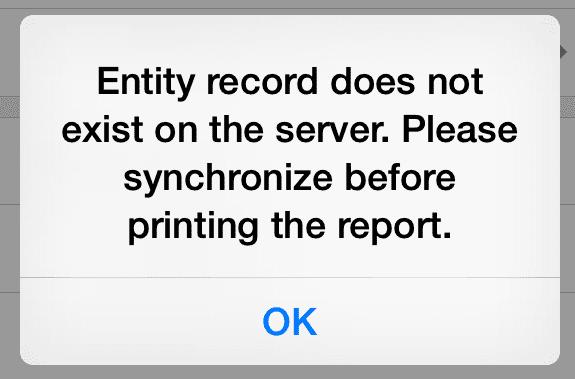 Print Report Error Message