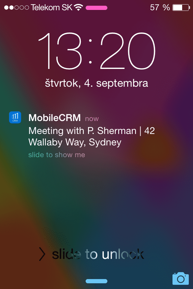 Reminder of a scheduled appointment in the Resco Mobile CRM