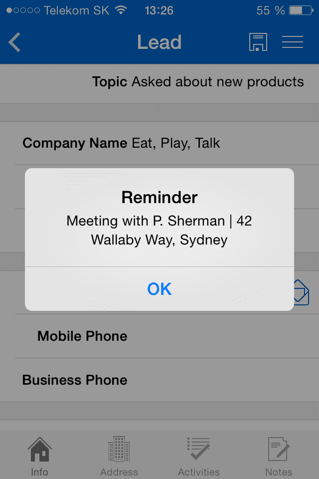 Pop-up reminder within Resco Mobile CRM