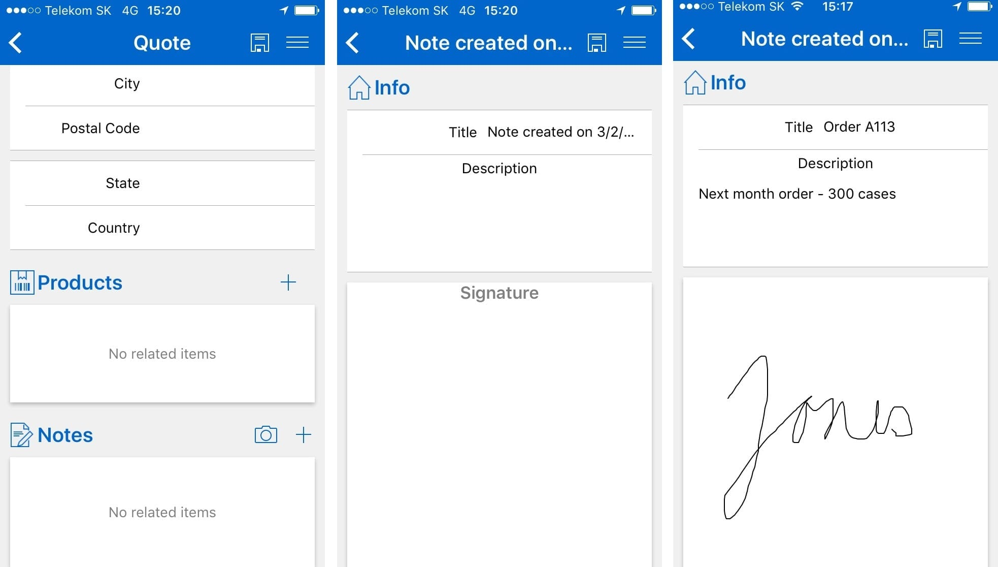 Signature in Resco Mobile CRM client for Microsoft Dynaimics CRM