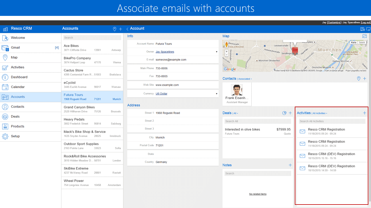 emails with accounts