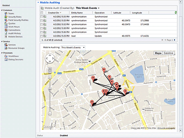 Resco Mobile CRM GPS tracking function