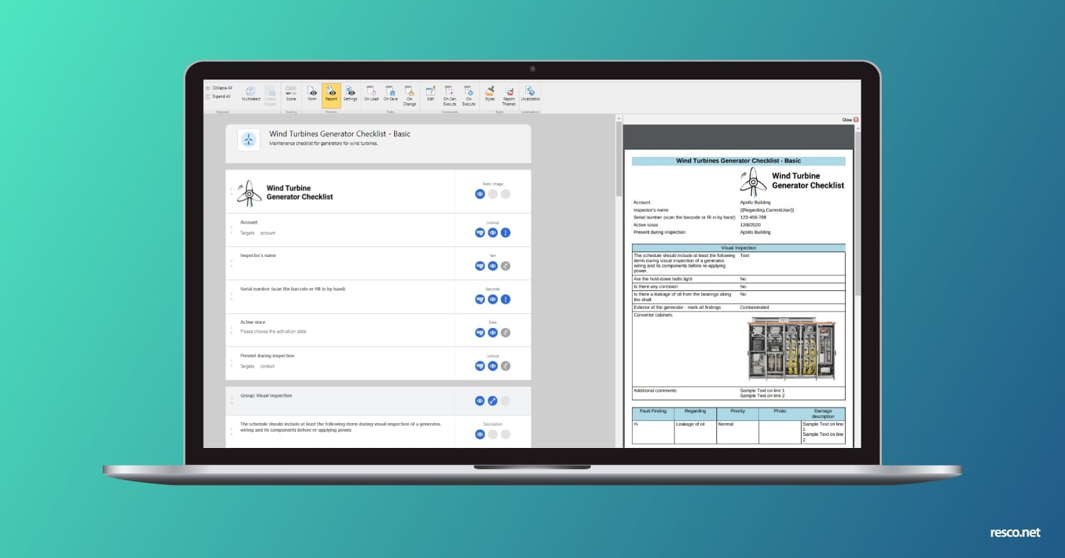Smarter reports in the Resco Inspections Questionnaire Designer