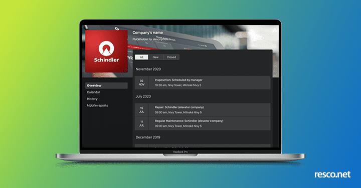 Resco Customer portal screen of the upcoming spring release 2021