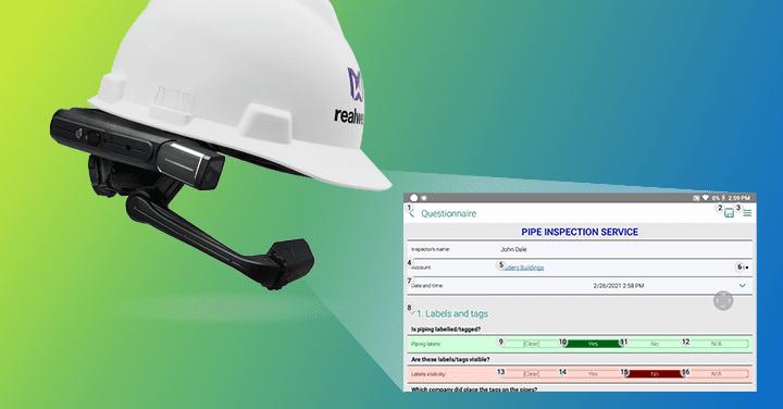 RealWear HMT-1 device on a helmet with Resco Inspections based app