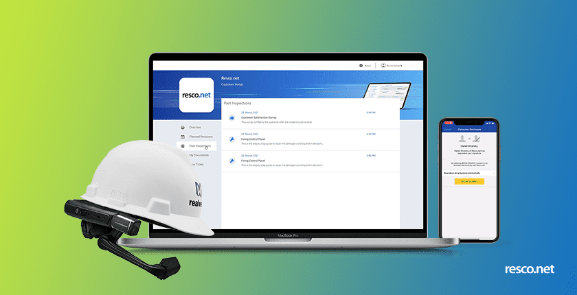 resco spring update 2021 title image with realwear, client portal, and offline docusing features