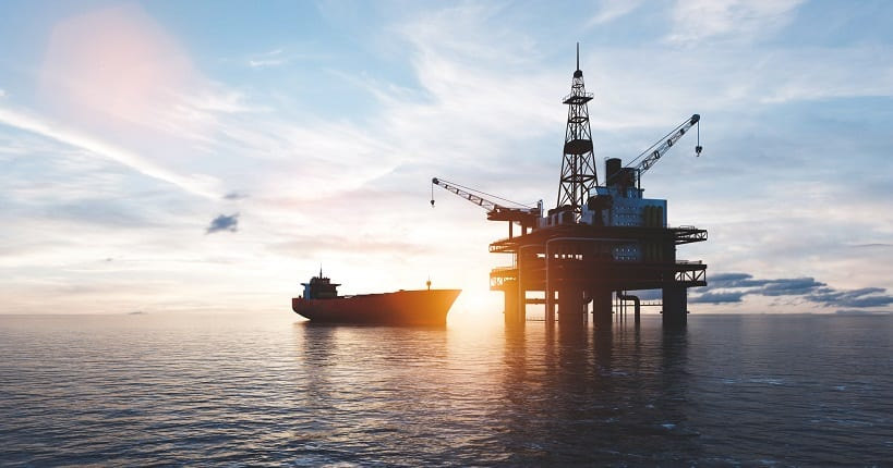 Oil platform on the ocean. Offshore drilling for gas and petroleum ready for oil and gas inspection
